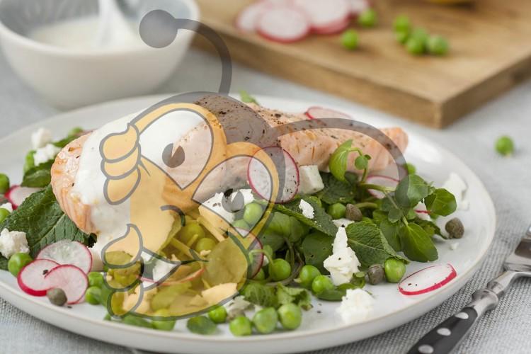 Охлажденный салат из лосося с медом и йогуртной заправкой